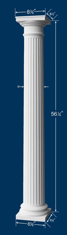 56 1 4 fluted column w cap base for Fluted fiberglass columns